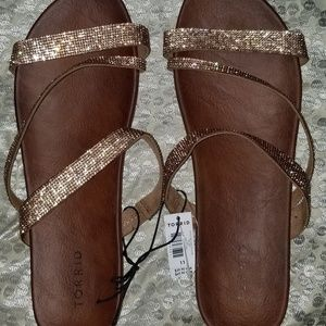 Torrid Rose Gold rhinestone strap sandles sz 11